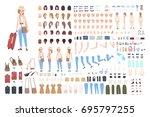 young girl traveler character...   Shutterstock .eps vector #695797255