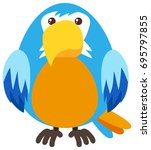 blue parrot with happy face... | Shutterstock .eps vector #695797855
