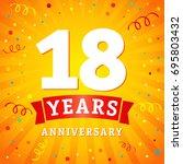18 years anniversary logo... | Shutterstock .eps vector #695803432