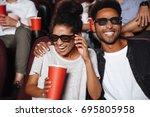 attractive afro american couple ... | Shutterstock . vector #695805958
