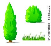 Vector illustration. Set of cartoon green plants. Vertical tree, bush, grass. - stock vector