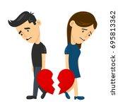 heartbroken sad young man guy... | Shutterstock .eps vector #695813362