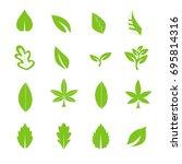 green leave icons set vector | Shutterstock .eps vector #695814316