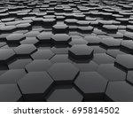 black glossy hexagons 3d... | Shutterstock . vector #695814502