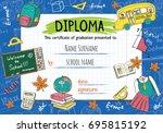 diploma template for kids ... | Shutterstock .eps vector #695815192