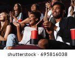 multiethnic happy audience... | Shutterstock . vector #695816038