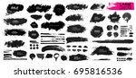 large set of black paint  ink... | Shutterstock .eps vector #695816536
