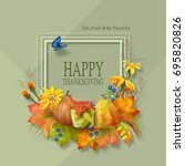 thanksgiving invitation card.... | Shutterstock .eps vector #695820826