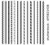 chain black line silhouette set ...   Shutterstock . vector #695821438