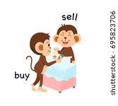 opposite sell and buy vector... | Shutterstock .eps vector #695823706