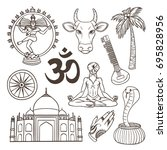 indian culture illustrations... | Shutterstock .eps vector #695828956