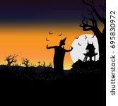 halloween in thai traditional... | Shutterstock .eps vector #695830972