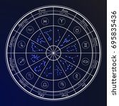 zodiac horoscope set in the... | Shutterstock .eps vector #695835436