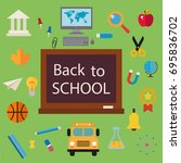 back to school icon set  flat ... | Shutterstock .eps vector #695836702