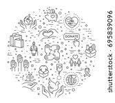 charity  modern vector line... | Shutterstock .eps vector #695839096
