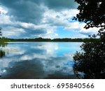 landscape with lake and break... | Shutterstock . vector #695840566