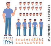 front  side  back view animated ...   Shutterstock .eps vector #695846596