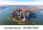 aerial view of lower manhattan... | Shutterstock . vector #695847865