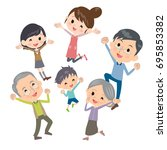 family three generations gather ... | Shutterstock .eps vector #695853382