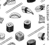 hand drawn graphic sushi and... | Shutterstock .eps vector #695855776
