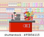 supermarket store interior with ... | Shutterstock .eps vector #695856115