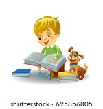 boy reading book with cute... | Shutterstock .eps vector #695856805