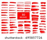 painted grunge stripes set. red ... | Shutterstock .eps vector #695857726