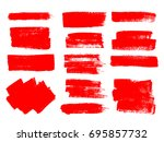 painted grunge stripes set. red ... | Shutterstock .eps vector #695857732