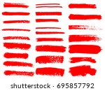 painted grunge stripes set. red ... | Shutterstock .eps vector #695857792