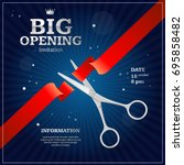 grand opening invitation card... | Shutterstock . vector #695858482