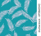 pattern exotic palm vector blue ... | Shutterstock .eps vector #695860342