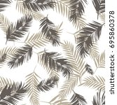 pattern exotic palm black and... | Shutterstock .eps vector #695860378
