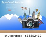 travel around the world and... | Shutterstock .eps vector #695862412