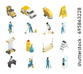 professional cleaning isometric ... | Shutterstock .eps vector #695863228