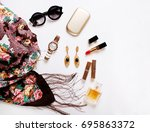beautiful fashionable scarf ... | Shutterstock . vector #695863372