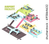 airport facilities isometric... | Shutterstock .eps vector #695864632