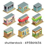 cafe isometric collection of... | Shutterstock .eps vector #695864656