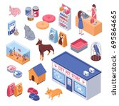 Stock vector isometric pet shop set with cute animals and goods for them isolated on white background d vector 695864665