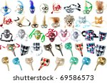 feathered carnival masks... | Shutterstock . vector #69586573