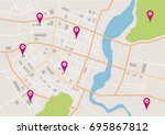 vector flat abstract city map ... | Shutterstock .eps vector #695867812