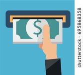 hand inserting money and and... | Shutterstock .eps vector #695868358