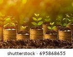 money growing in soil success... | Shutterstock . vector #695868655