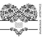 floral invitation card with... | Shutterstock . vector #695874412
