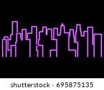 neon city outline landscape....   Shutterstock .eps vector #695875135