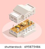 museum icon isometric... | Shutterstock .eps vector #695875486
