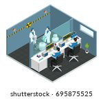 scientific laboratory isometric ... | Shutterstock .eps vector #695875525