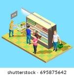 isometric people shopping... | Shutterstock .eps vector #695875642