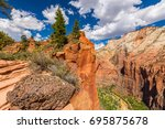 bright autumn scenery in zion... | Shutterstock . vector #695875678