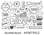 set of hand drawn doodle love... | Shutterstock .eps vector #695875912