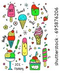 hand drawn set of doodle with... | Shutterstock .eps vector #695876206
